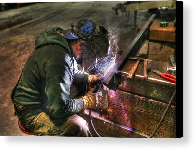 Sam Amato Canvas Print featuring the photograph Welding by Sam Amato