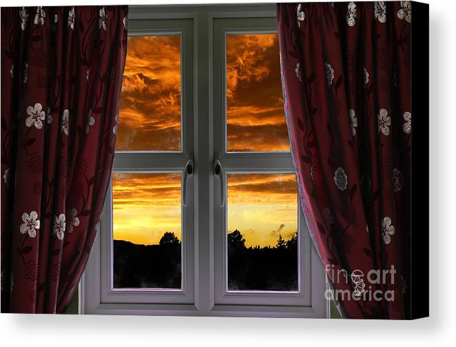Window Canvas Print featuring the photograph Window With Fiery Sky by Simon Bratt Photography LRPS