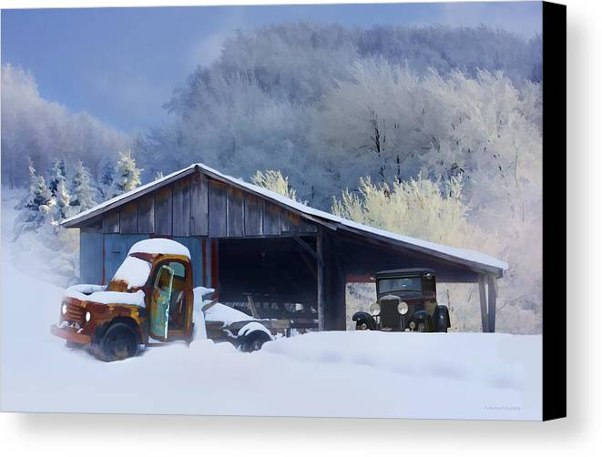 Winter Canvas Print featuring the photograph Winter Shed by Ron Jones