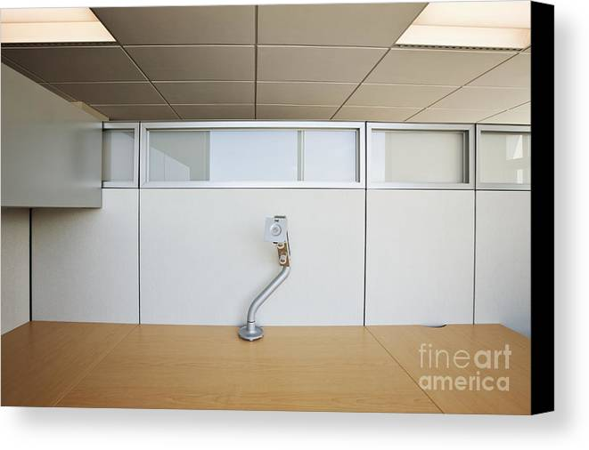 Architecture Canvas Print featuring the photograph Wooden Desks Being Stored by Jetta Productions, Inc