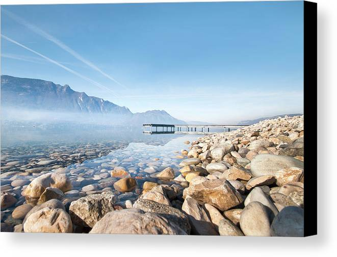 Horizontal Canvas Print featuring the photograph Wooden Dock Over Lake by Laverrue Was Here