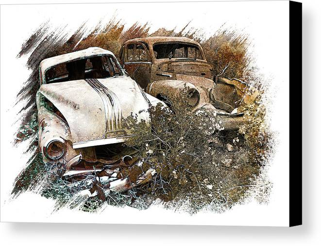 Art Canvas Print featuring the pyrography Wreck 3 by Mauro Celotti