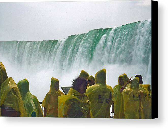 Canvas Print featuring the photograph Yellow Coats Two by Alan Rutherford
