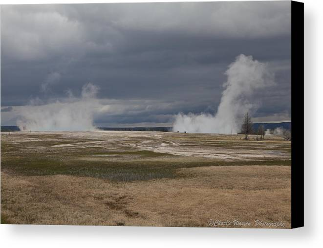 Geyser Canvas Print featuring the photograph Yellowstone Geysers2 by Charles Warren