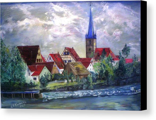 Landscape River Regnitz Church Erlangen Bruck Germany Canvas Print featuring the painting Brucker Kirche by Alfred P Verhoeven
