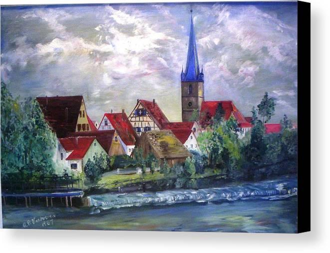 Landscape River Regnitz Church Erlangen Bruck Germany Canvas Print featuring the painting Brucker Kirche by Alfred P Verhoeven
