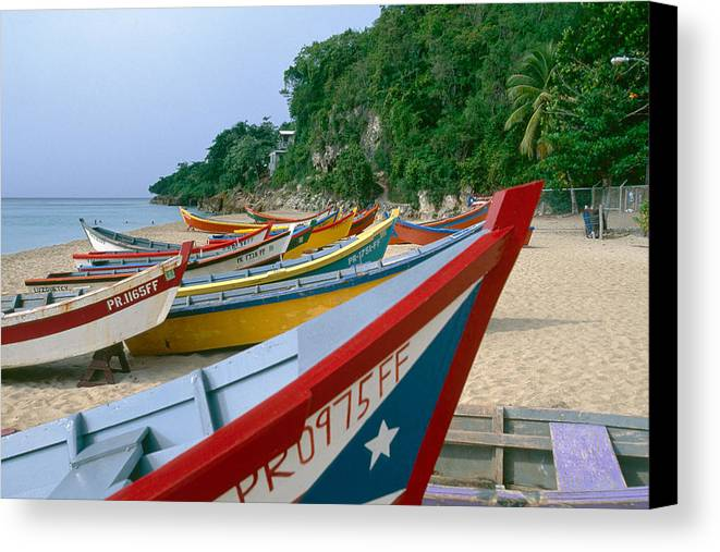 Aquadilla Canvas Print featuring the photograph Colorful Fishing Boats On Crashboat Beach by George Oze