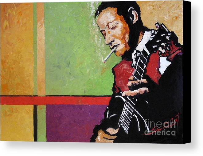 Jazz Canvas Print featuring the painting Jazz Guitarist by Yuriy Shevchuk