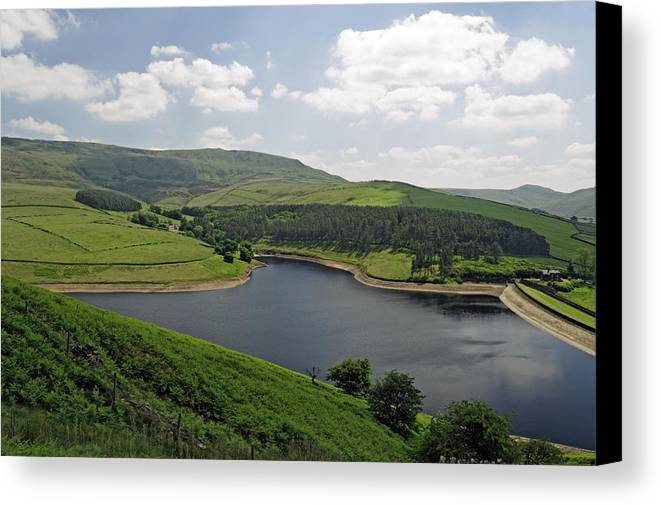 Britain Canvas Print featuring the photograph Kinder Reservoir From White Brow by Rod Johnson