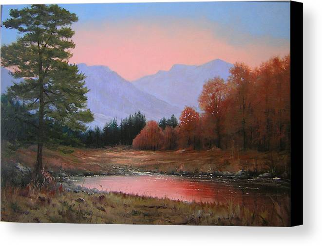 Landscape Canvas Print featuring the painting 051116-3020   First Light Of Day  by Kenneth Shanika