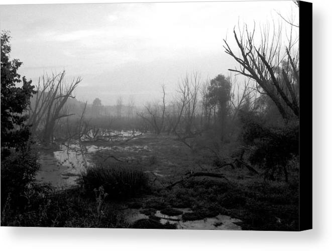 Atmospheric Canvas Print featuring the photograph 072806-23bw A Shortcut Through Mordor by Mike Davis