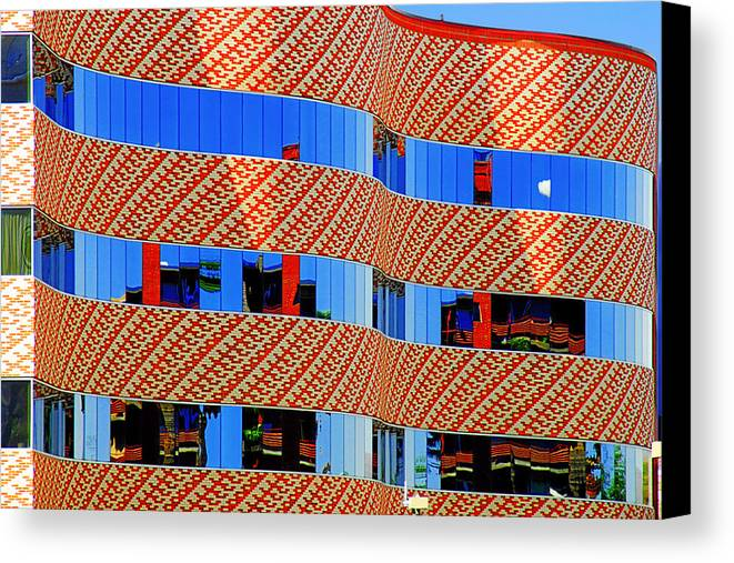 Facade Canvas Print featuring the photograph Abstract Reflections In Glass Tucson Arizona by Christine Till