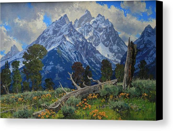 Canvas Print featuring the painting Ancient Guardians by Lanny Grant