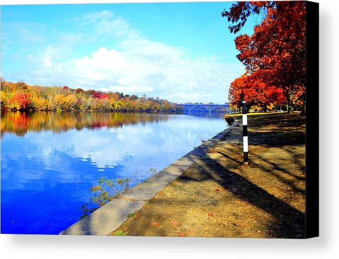 Autumn Canvas Print featuring the photograph Autumn Afternoon On The Schuykill River by Marla McPherson