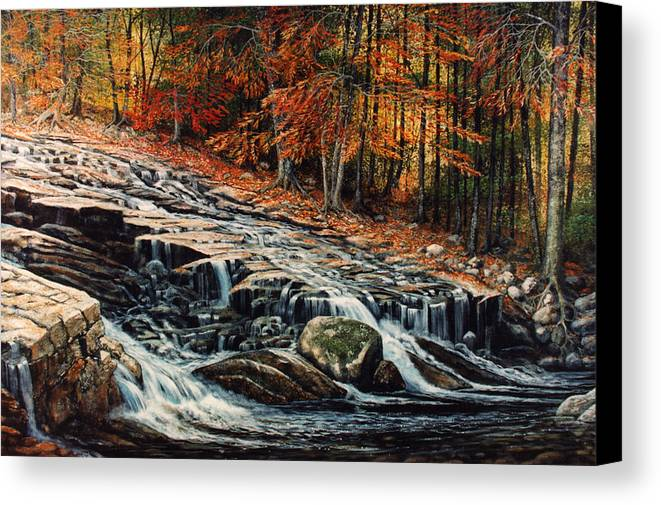 Landscape Canvas Print featuring the painting Autumn Cascade by Frank Wilson