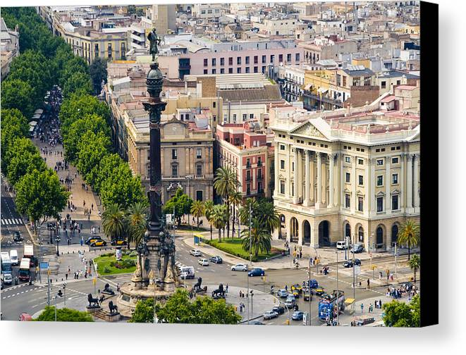 Day Canvas Print featuring the photograph Barcelona With Tree-lined Las Ramblas by Annie Griffiths