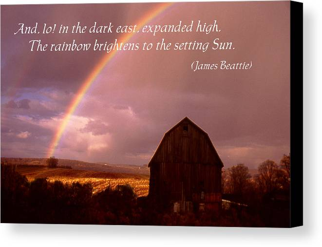 Poster Canvas Print featuring the photograph Barn And Rainbow Poster by Roger Soule
