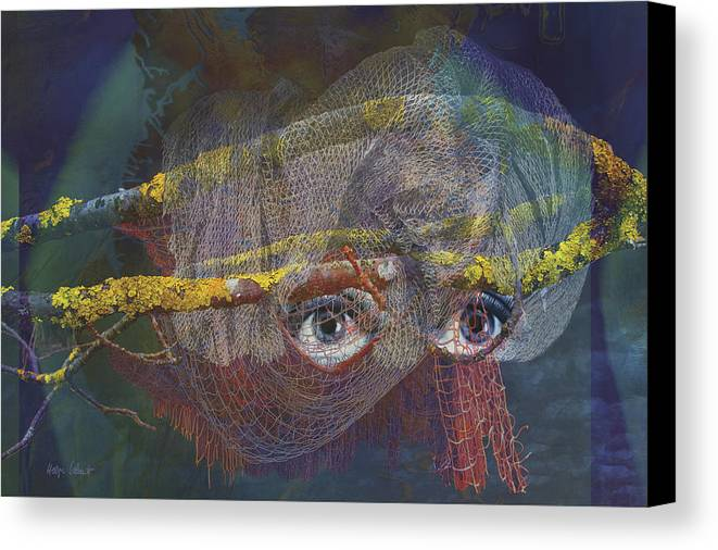 Fantasy Canvas Print featuring the digital art Blowfish by Helga Schmitt