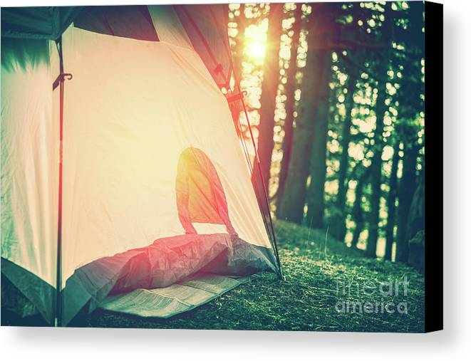 Active Canvas Print featuring the photograph Camping In The Forest by Anna Om