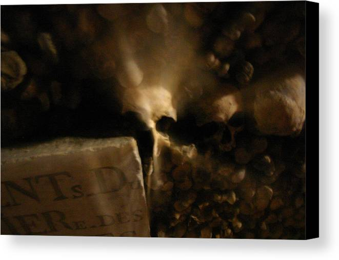 Canvas Print featuring the photograph Catacombs Paris France by Jennifer McDuffie