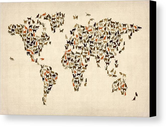 World Map Canvas Print featuring the digital art Cats Map Of The World Map by Michael Tompsett