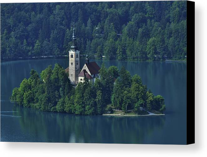 Slovenia Canvas Print featuring the photograph Church Of Mary On Bled Island by Don Wolf