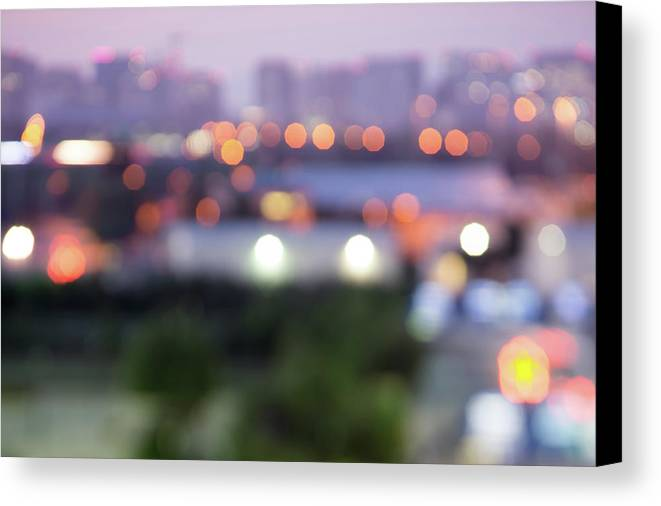 Lights Canvas Print featuring the photograph City Lights Bokeh Night Abstract by Alex Grichenko