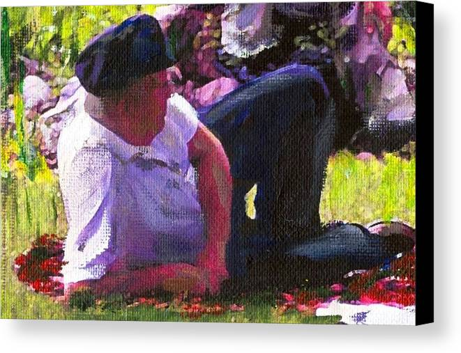 Lake Canvas Print featuring the painting Detail Of Picnic By The Lake by Randy Sprout