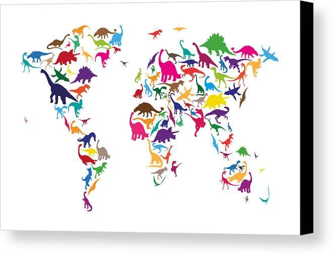 World Map Canvas Print featuring the digital art Dinosaur Map Of The World Map by Michael Tompsett