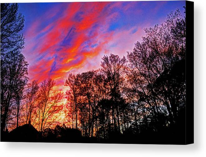 Sunset Canvas Print featuring the photograph Fire In The Sky by David Campbell