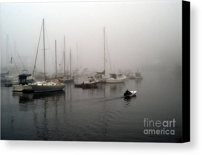 Ships Canvas Print featuring the photograph Foggy Camden Harbor by Neil Doren