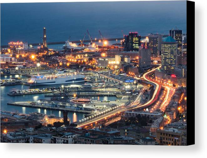 Blue Canvas Print featuring the photograph Genoa Blue Hour by Claudio Bergero