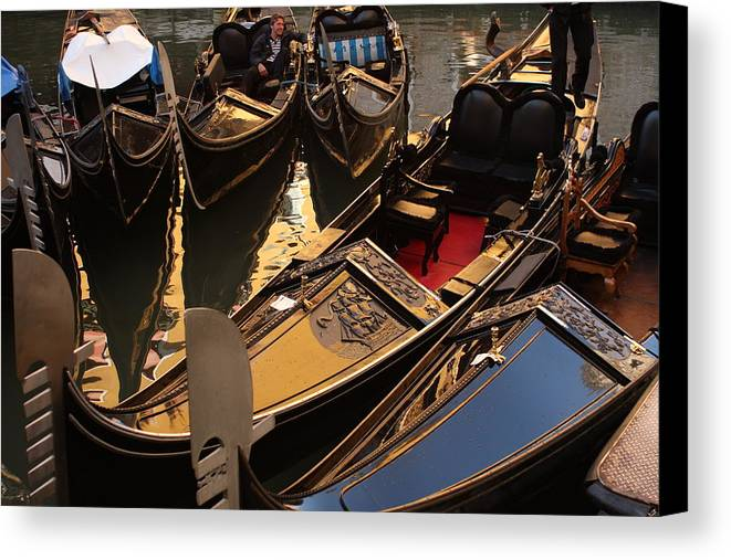 Venice Canvas Print featuring the photograph Gondolas In Venice by Michael Henderson