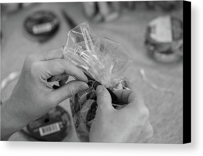 Craft Canvas Print featuring the photograph Hands At Work. by Nicola Simeoni