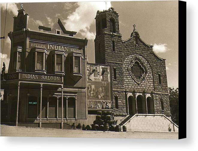 Holy Angel's Catholic Church Rectory Belles Indian Saloon  The Great White Hope Set Globe Az 1969 Canvas Print featuring the photograph Holy Angel's Catholic Church Rectory Belles Indian Saloon  The Great White Hope Set Globe Az 1969 by David Lee Guss