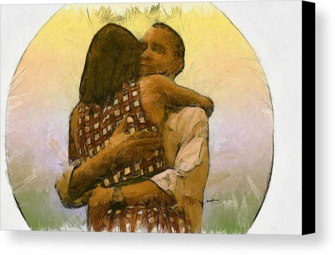 Portrait Canvas Print featuring the drawing In Love by Anthony Caruso