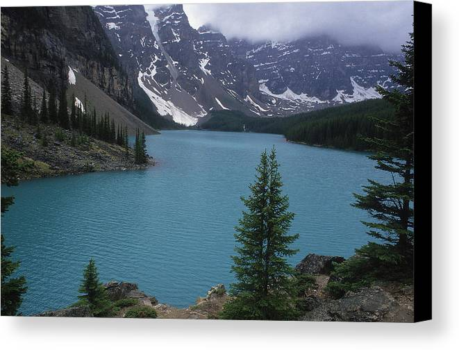 View Canvas Print featuring the photograph Lake Moraine In Canada by Carl Purcell