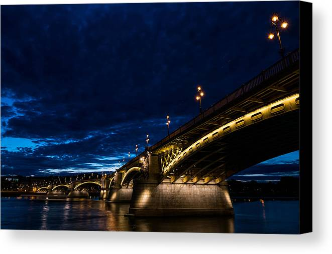 Margaret Bridge Canvas Print featuring the photograph Margaret Bridge In Budapest by Zoltan Vegh