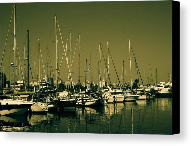 Boats Canvas Print featuring the photograph Moorings by Linda Foakes