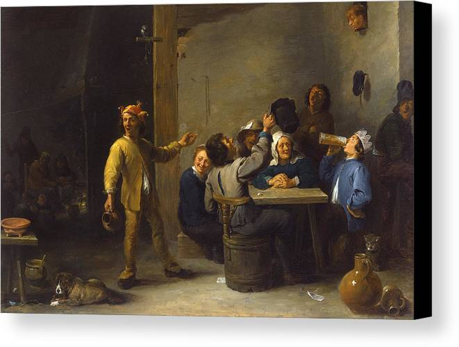 Animal Canvas Print featuring the painting Peasants Celebrating Twelfth Night by David Teniers the Younger