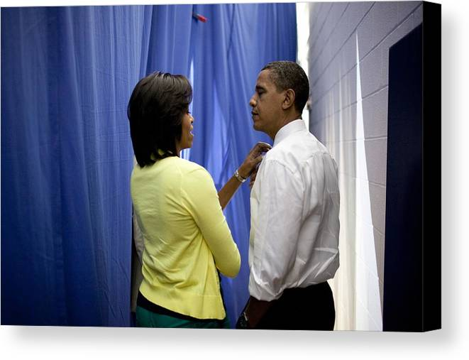 History Canvas Print featuring the photograph President Barack Obama And First Lady by Everett