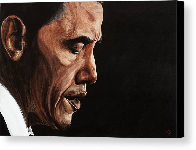 Portrait Canvas Print featuring the painting President Barack Obama Portrait by Patty Vicknair