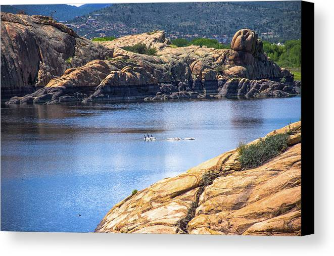 Landscape Canvas Print featuring the photograph Scenic Willow Lake by Amy Sorvillo
