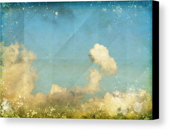 Abstract Canvas Print featuring the photograph Sky And Cloud On Old Grunge Paper by Setsiri Silapasuwanchai