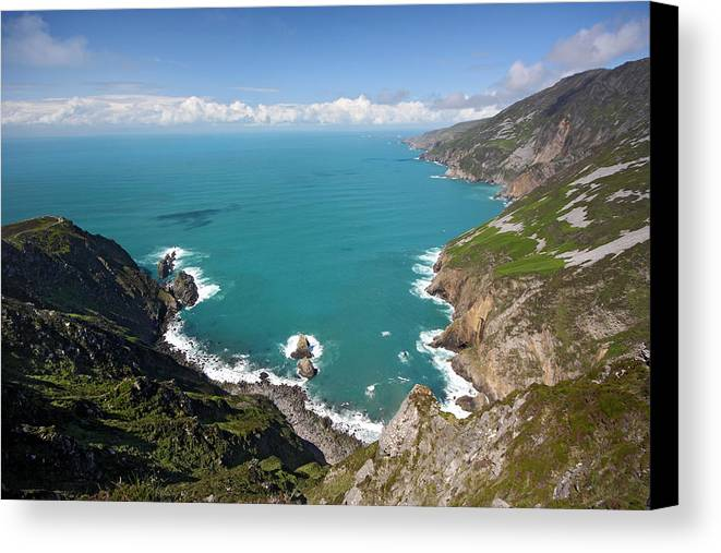 Slieve League Canvas Print featuring the photograph Slieve League Donegal Ireland by Pierre Leclerc Photography