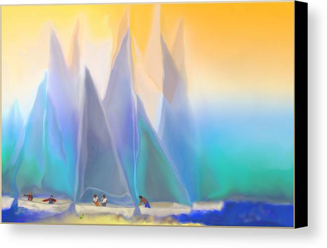 Summer Canvas Print featuring the digital art Smooth Sailing by Mathilde Vhargon