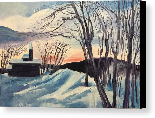 Landscape Canvas Print featuring the painting Sunset by Olivia Ouyang