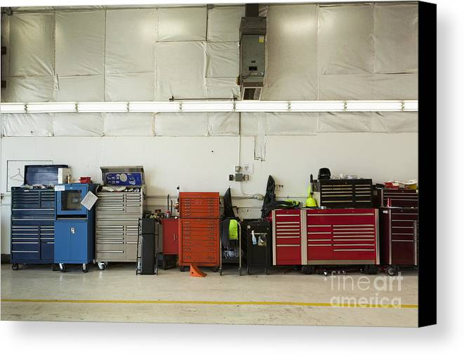 Auto Canvas Print featuring the photograph Tool Chests In An Automobile Repair Shop by Don Mason