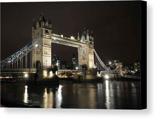 Tower Bridge London River Thames Canvas Print featuring the photograph Tower Bridge London by Jon Daly