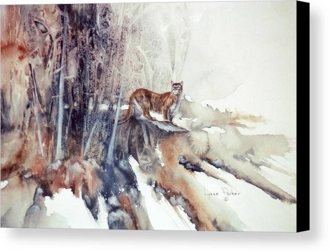 Cougar Canvas Print featuring the painting Vantage Point by Lynne Parker